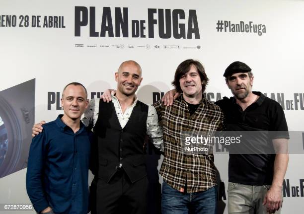 Javier Gutierrez Alain Hernandez Inaki Dorronsoro and Luis Tosar attend a photocall for 'Plan de Fuga' at NH Collection Madrid Suecia Hotel on April...