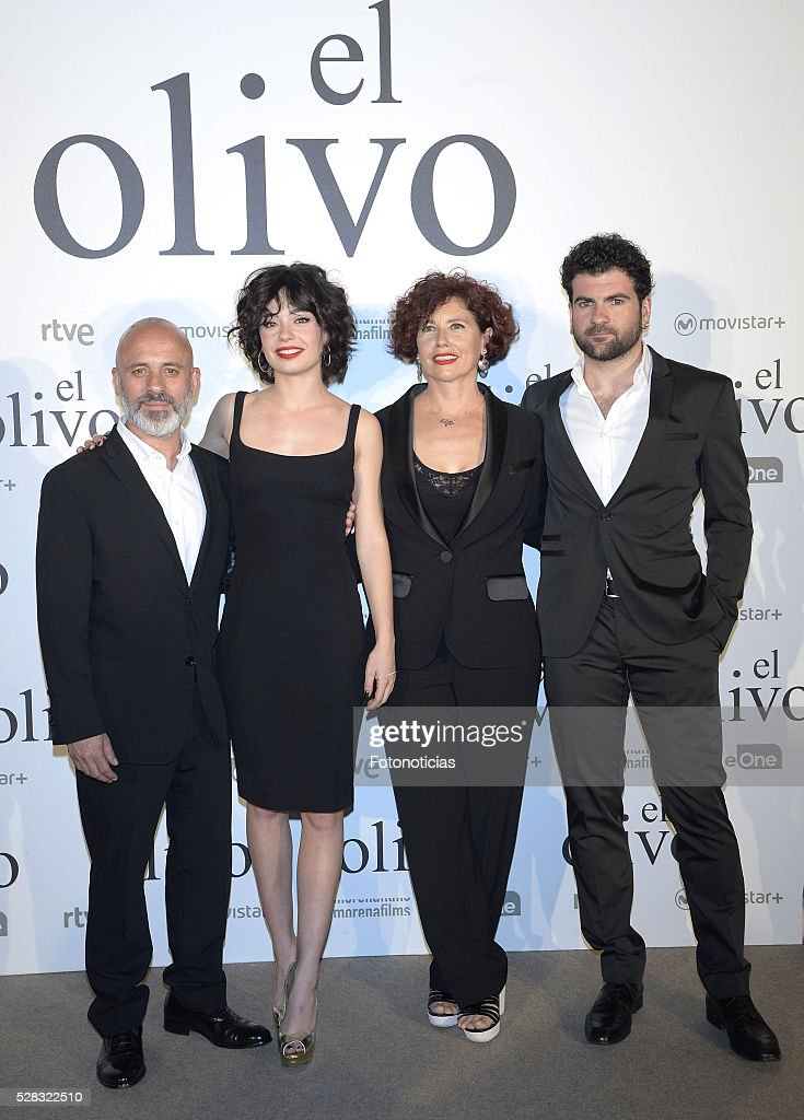 Javier Gutierrez, Iciar Bollain, Anna Castillo and Pep Ambros attend the premiere of 'El Olivo' at the Capitol cinema on May 4, 2016 in Madrid, Spain.
