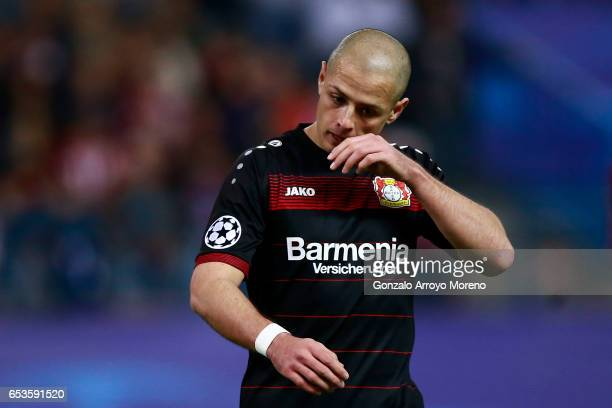 Javier Hernandez alias Chicharito of Bayer Leverkusen reacts during the UEFA Champions League Round of 16 second leg match between Club Atletico de...