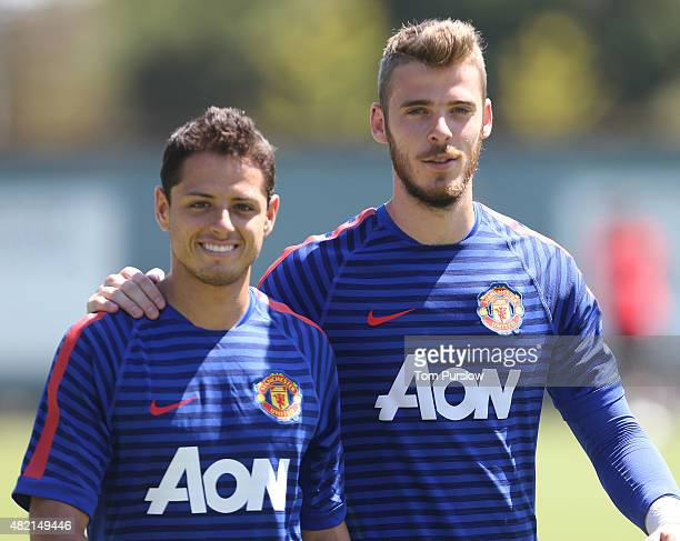 Javier Hernandez and David de Gea of Manchester United in action during a first team training session as part of their preseason tour of the USA at...