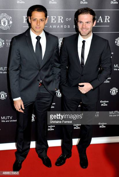 Javier Hernandez and Juan Mata attend the Manchester United Player of the Year awards at Old Trafford on May 8 2014 in Manchester England