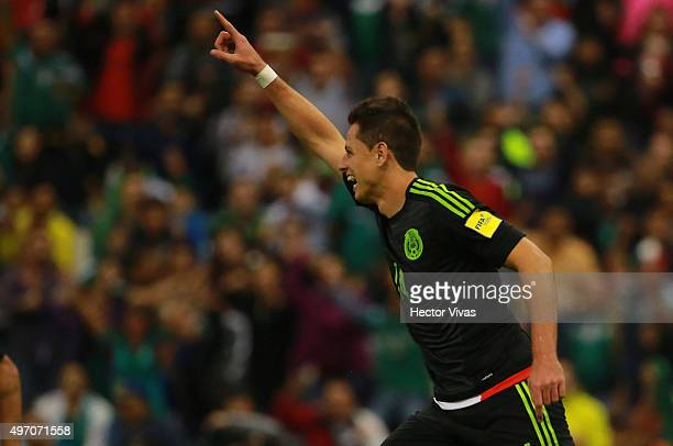 Javier Hernandez celebrates the second goal of his team scored by Hector Herrera during the match between Mexico and El Salvador as part of the 2018...