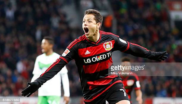 Javier Hernandez Chicharito of Leverkusen celebrates scoring the 20 goal during the Bundesliga match between Bayer Leverkusen and VFL Wolfsburg at...