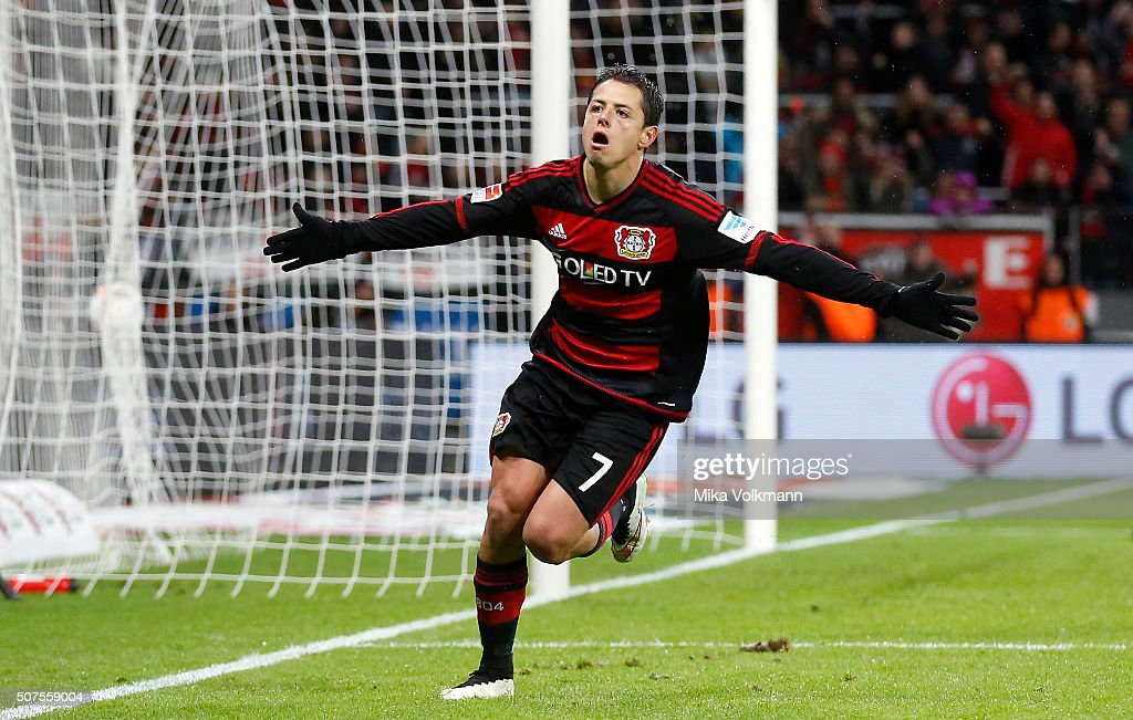 Javier Hernandez Chicharito of Leverkusen celebrates scoring the 30 during the Bundesliga match between Bayer Leverkusen and Hannover 96 at BayArena...