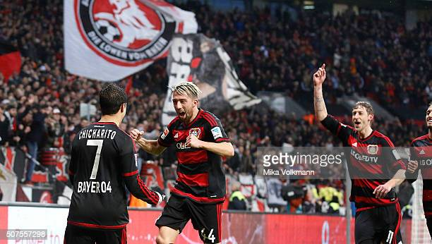 Javier Hernandez Chicharito of Leverkusen celebrates scoring their second goal with Kevin Kampl of Leverkusen and Stefan Kiessling of Leverkusen...