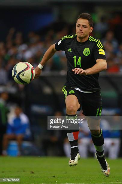 Javier Hernandez drives the ball during the match between Mexico and El Salvador as part of the 2018 FIFA World Cup Qualifiers at Azteca Stadium on...