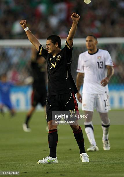 Javier Hernandez Mexico celebrates at the end of the game in fron t of Jermaine Jones of the United States during the 2011 CONCACAF Gold Championship...