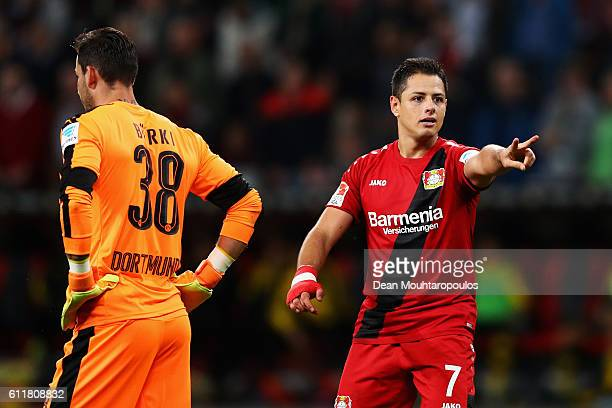 Javier Hernandez of Bayer 04 Leverkusen celebrates scoring his teams second goal of the game during the Bundesliga match between Bayer 04 Leverkusen...