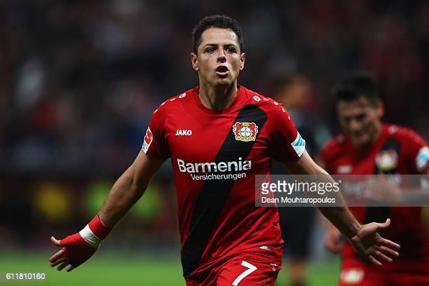 Javier Hernandez of Bayer 04 Leverkusen celebrates scoring his teams second goal of the game during the Bundesliga match between Bayer 04 Leverkusen...