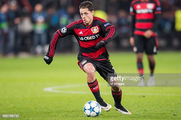 Javier Hernandez of Bayer 04 Leverkusen during the UEFA Champions League match between Bayer 04 Leverkusen and FC Barcelona on December 9 2015 at the...