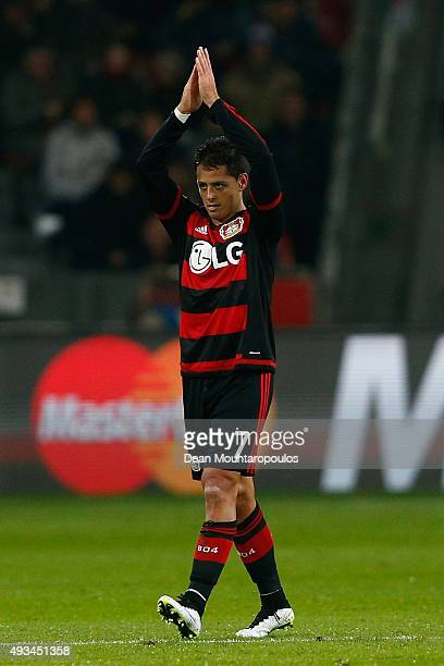 Javier Hernandez of Bayer Levekusen applauds the corwd during the UEFA Champions League Group E match between Bayer 04 Leverkusen and AS Roma at...