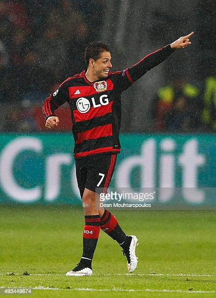 Javier Hernandez of Bayer Levekusen celebrates as he scores their first goal from a penalty during the UEFA Champions League Group E match between...