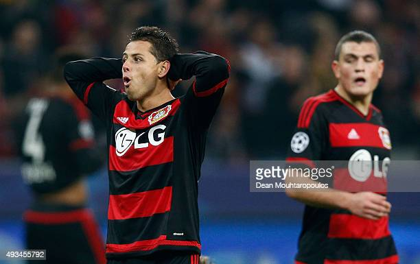 Javier Hernandez of Bayer Levekusen reacts after the UEFA Champions League Group E match between Bayer 04 Leverkusen and AS Roma at BayArena on...