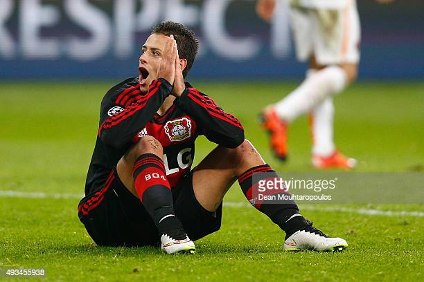 Javier Hernandez of Bayer Levekusen reacts during the UEFA Champions League Group E match between Bayer 04 Leverkusen and AS Roma at BayArena on...