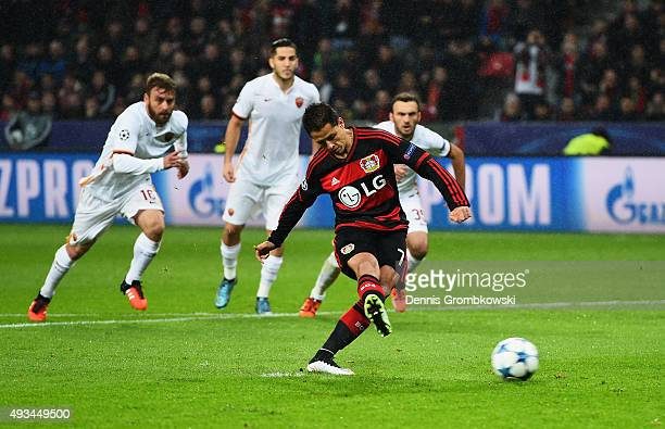 Javier Hernandez of Bayer Levekusen scores their first goal from a penalty during the UEFA Champions League Group E match between Bayer 04 Leverkusen...
