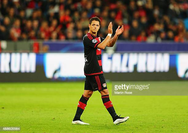 Javier Hernandez of Bayer Leverkusen applauds the fans after being substituted during the UEFA Champions League Group E match between Bayer 04...