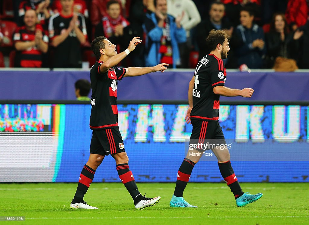 Javier Hernandez of Bayer Leverkusen celebrates scoring his team's third goal during the UEFA Champions League Group E match between Bayer 04 Leverkusen and FC BATE Borisov at BayArena on September 16, 2015 in Leverkusen, Germany.