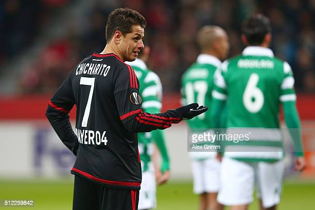 Javier Hernandez of Bayer Leverkusen looks on during the UEFA Europa League round of 32 second leg match between Bayer Leverkusen and Sporting Lisbon...