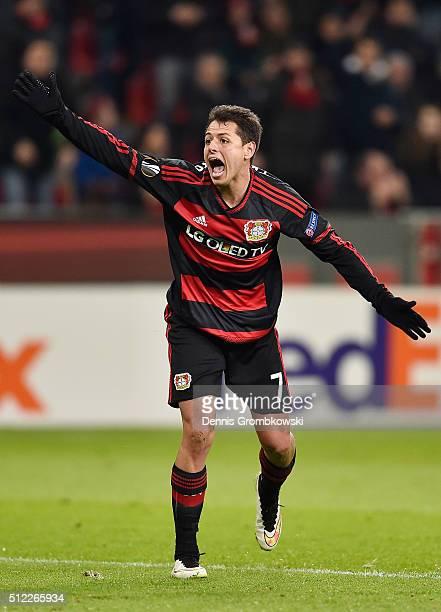 Javier Hernandez of Bayer Leverkusen reacts during the UEFA Europa League round of 32 second leg match between Bayer Leverkusen and Sporting Lisbon...