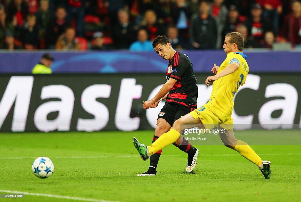 Javier Hernandez of Bayer Leverkusen scores his team's third goal during the UEFA Champions League Group E match between Bayer 04 Leverkusen and FC BATE Borisov at BayArena on September 16, 2015 in Leverkusen, Germany.