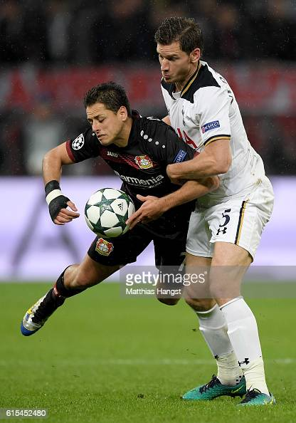 Javier Hernandez of Leverkusen and Jan Vertonghen of Tottenham battle for the ball during the UEFA Champions League group E match between Bayer 04...