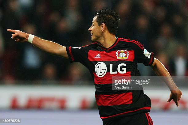 Javier Hernandez of Leverkusen celebrates his team's first goal during the Bundesliga match between Bayer Leverkusen and 1 FSV Mainz 05 at BayArena...
