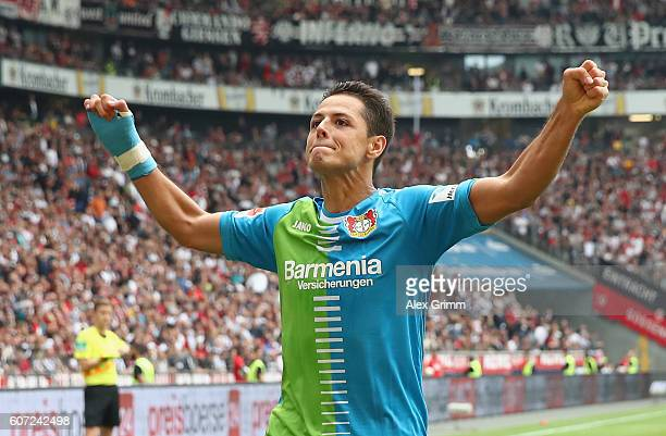 Javier Hernandez of Leverkusen celebrates his team's first goal during the Bundesliga match between Eintracht Frankfurt and Bayer 04 Leverkusen at...