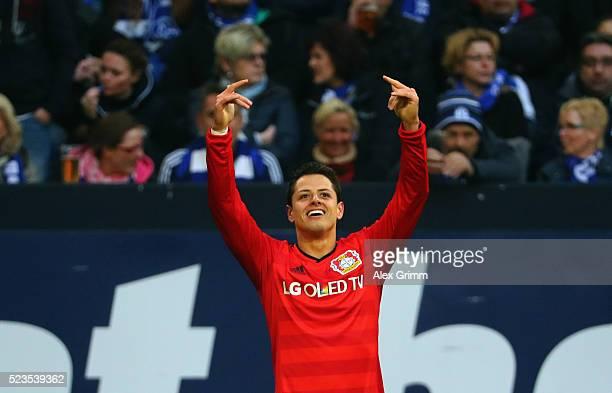 Javier Hernandez of Leverkusen celebrates his team's third goal during the Bundesliga match between FC Schalke 04 and Bayer Leverkusen at...