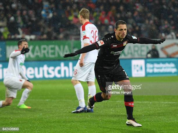 Javier Hernandez of Leverkusen celebrates scoring the second goal during the Bundesliga match between FC Augsburg and Bayer 04 Leverkusen at WWK...