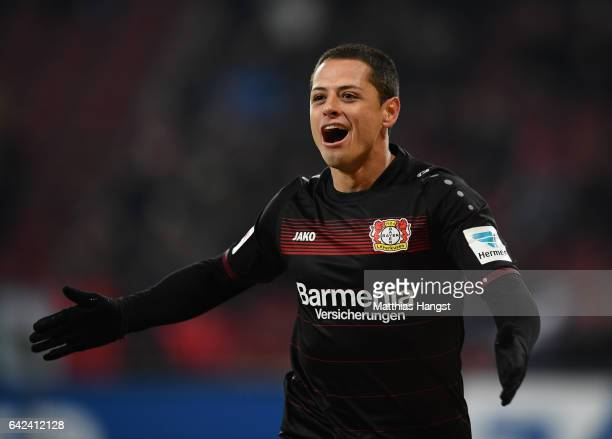 Javier Hernandez of Leverkusen celebrates scoring the third goal during the Bundesliga match between FC Augsburg and Bayer 04 Leverkusen at WWK Arena...