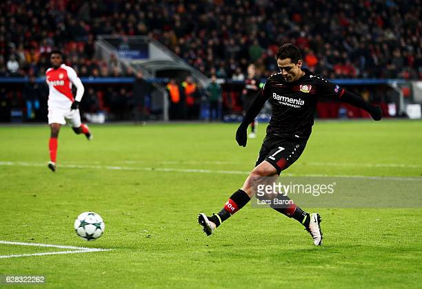 Javier Hernandez of Leverkusen fails to score a goal during the UEFA Champions League match between Bayer 04 Leverkusen and AS Monaco FC at BayArena...