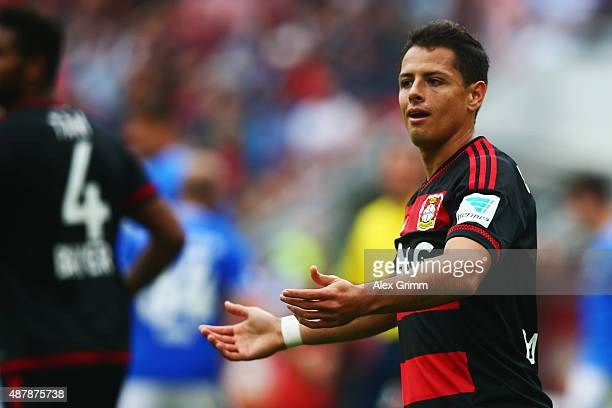 Javier Hernandez of Leverkusen reacts during the Bundesliga match between Bayer Leverkusen and SV Darmstadt 98 at BayArena on September 12 2015 in...