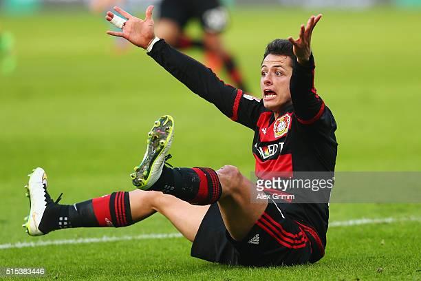Javier Hernandez of Leverkusen reacts during the Bundesliga match between Bayer 04 Leverkusen and Hamburger SV at BayArena on March 13 2016 in...