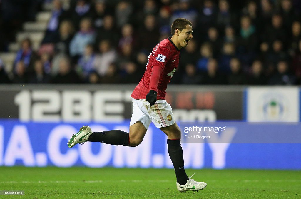 Javier Hernandez of Machester United celebrates after scoring his second goal during the Barclays Premier League match between Wigan Athletic and Manchester United at the DW Stadium on January 1, 2013 in Wigan, England.