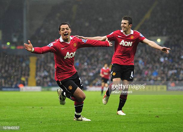 Javier Hernandez of Manchester United celebrates after scoring the winning goal during the Barclays Premier League match between West Bromwich Albion...