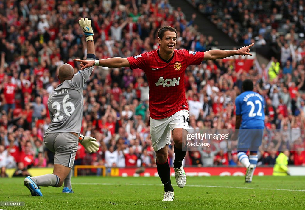 <a gi-track='captionPersonalityLinkClicked' href=/galleries/search?phrase=Javier+Hernandez+-+Soccer+Player&family=editorial&specificpeople=6733186 ng-click='$event.stopPropagation()'>Javier Hernandez</a> of Manchester United celebrates after scoring the second goal during the Barclays Premier League match between Manchester United and Wigan Athletic at Old Trafford on September 15, 2012 in Manchester, England.