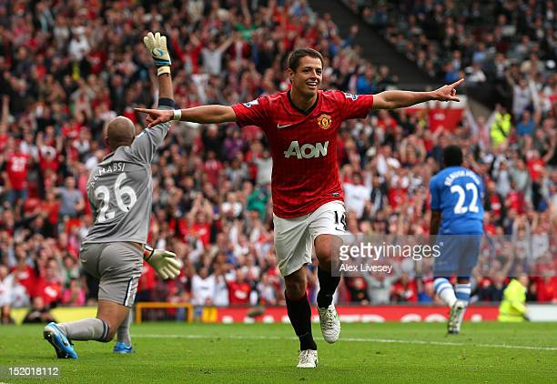 Javier Hernandez of Manchester United celebrates after scoring the second goal during the Barclays Premier League match between Manchester United and...