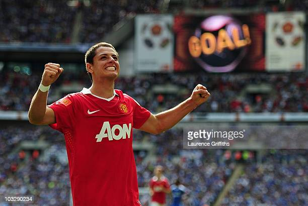 Javier Hernandez of Manchester United celebrates as he scores their second goal during the FA Community Shield match between Chelsea and Manchester...