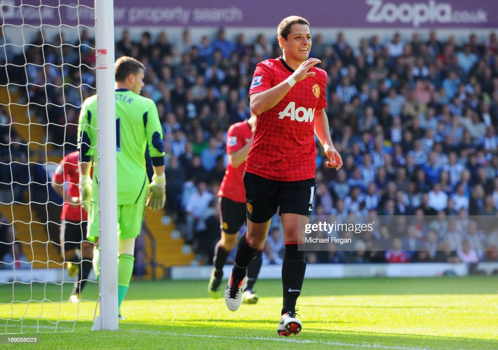 <a gi-track='captionPersonalityLinkClicked' href=/galleries/search?phrase=Javier+Hernandez+-+Voetballer&family=editorial&specificpeople=6733186 ng-click='$event.stopPropagation()'>Javier Hernandez</a> of Manchester United celebrates as he scores their fifth goal during the Barclays Premier League match between West Bromwich Albion and Manchester United at The Hawthorns on May 19, 2013 in West Bromwich, England.
