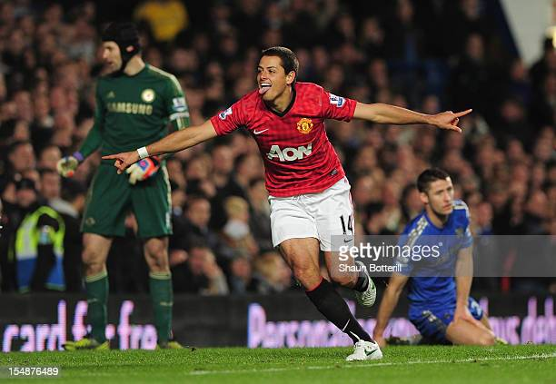 Javier Hernandez of Manchester United celebrates his goal during the Barclays Premier League match between Chelsea and Manchester United at Stamford...