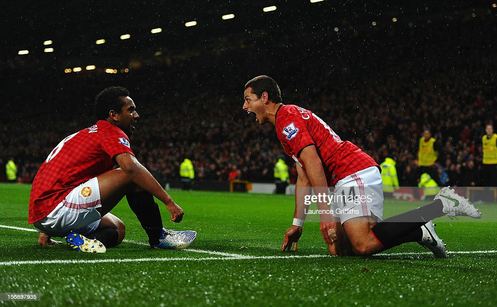 <a gi-track='captionPersonalityLinkClicked' href=/galleries/search?phrase=Javier+Hernandez+-+Soccer+Player&family=editorial&specificpeople=6733186 ng-click='$event.stopPropagation()'>Javier Hernandez</a> of Manchester United celebrates scoring his team's third goal with team-mate Anderson (L) to make the score 3-1 during the Barclays Premier League match between Manchester United and Queens Park Rangers at Old Trafford on November 24, 2012 in Manchester, England.