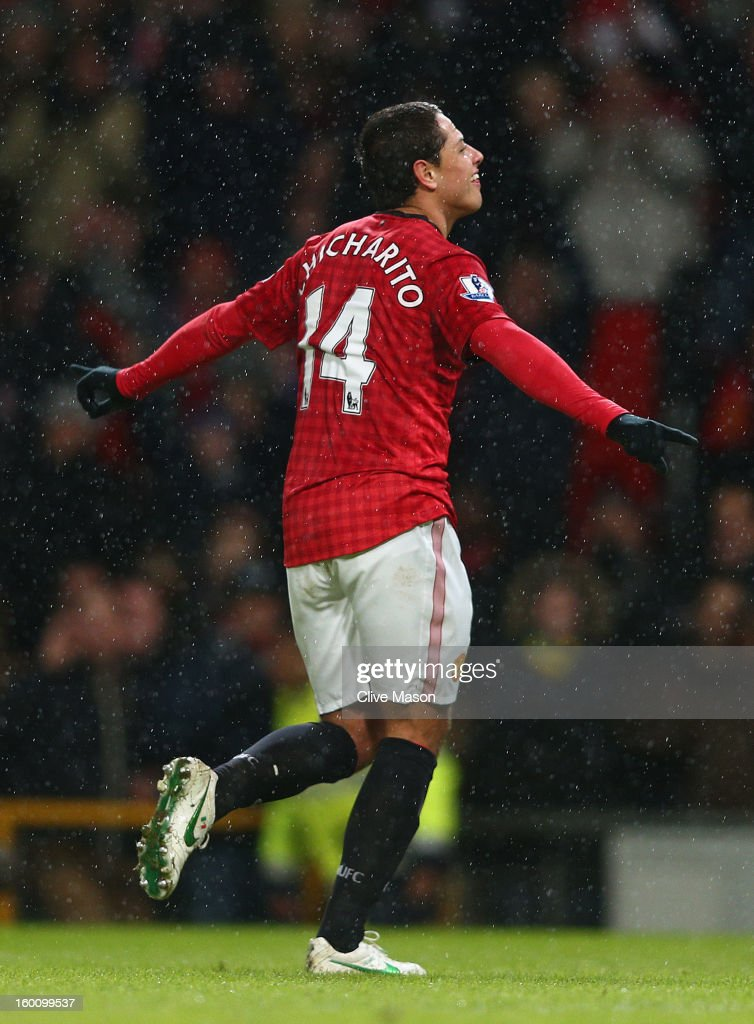 Javier Hernandez of Manchester United celebrates scoring his team's fourth goal during the FA Cup with Budweiser Fourth Round match between Manchester United and Fulham at Old Trafford on January 26, 2013 in Manchester, England.
