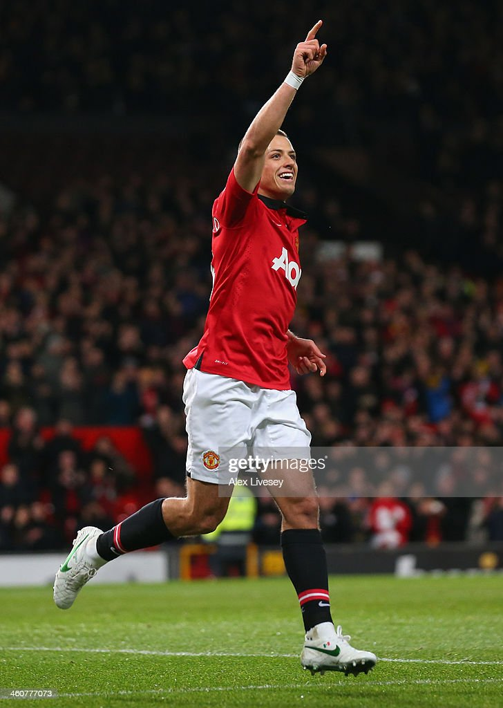 <a gi-track='captionPersonalityLinkClicked' href=/galleries/search?phrase=Javier+Hernandez+-+Soccer+Player&family=editorial&specificpeople=6733186 ng-click='$event.stopPropagation()'>Javier Hernandez</a> of Manchester United celebrates scoring his team's first goal during the FA Cup with Budweiser Third round match between Manchester United and Swansea City at Old Trafford on January 5, 2014 in Manchester, England.
