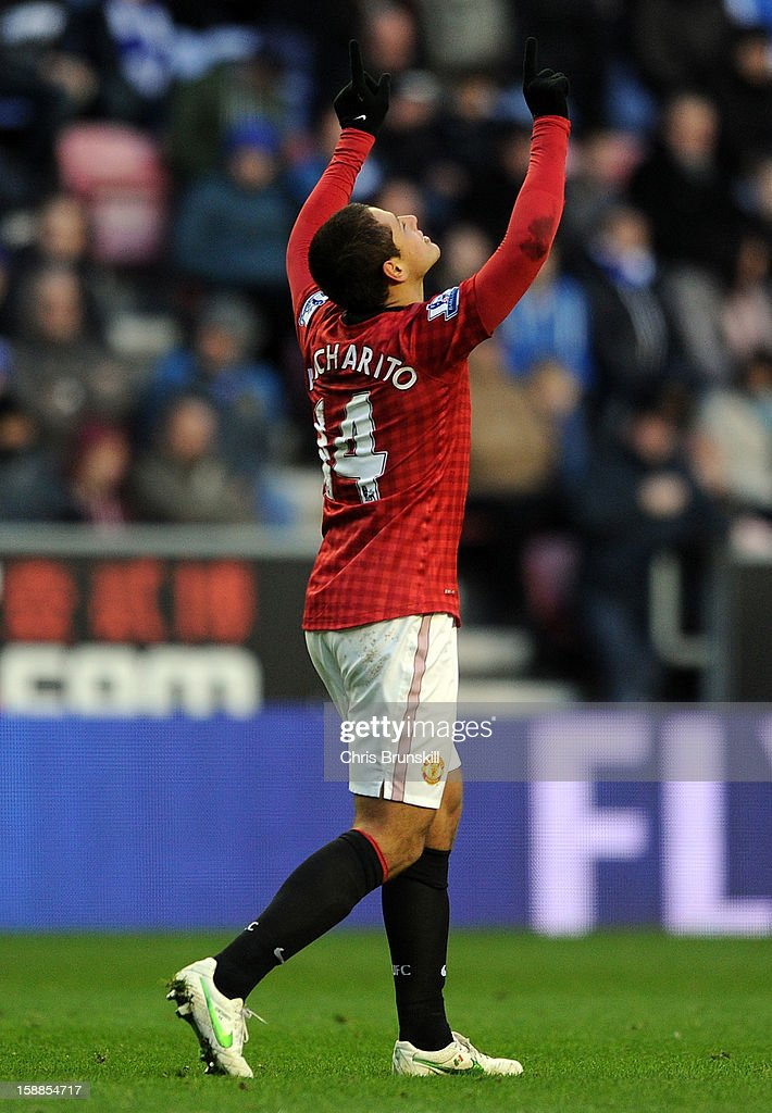 Javier Hernandez of Manchester United celebrates scoring the opening goal during the Barclays Premier League match between Wigan Athletic and Manchester United at DW Stadium on January 1, 2013 in Wigan, England.