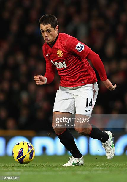 Javier Hernandez of Manchester United in action during the Barclays Premier League match between Manchester United and West Ham United at Old...