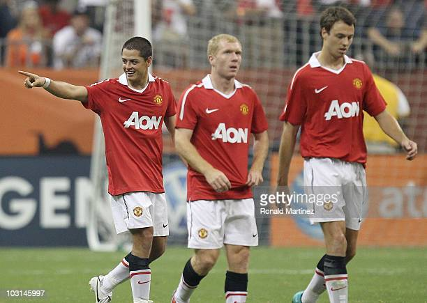Javier Hernandez of Manchester United points towards the bench after scoring in his debut with United against the MLS AllStars during the MLS All...