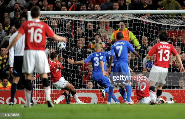 Javier Hernandez of Manchester United scores the opening goal during the UEFA Champions League Quarter Final second leg match between Manchester...