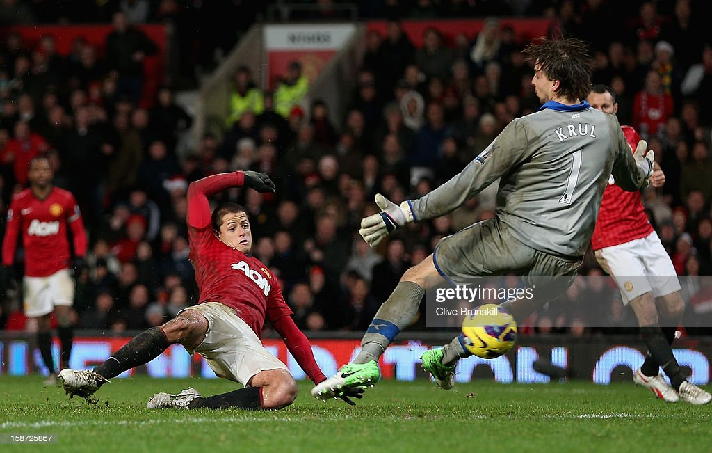 Javier Hernandez of Manchester United scores the winning goal past Tim Krul of Newcastle United during the Barclays Premier League match between Manchester United and Newcastle United at Old Trafford December 26, 2012 in Manchester, England.