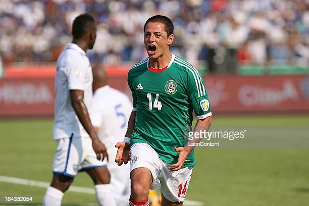 Javier Hernandez of Mexico celebrates a goal during a match between Mexico and Honduras as part of the Concacaf Qualifiers at Olimpico de San Pedro...
