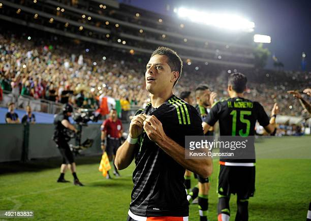 Javier Hernandez of Mexico celebrates after scoring a goal against the United States during the first half of a 2017 FIFA Confederations Cup...